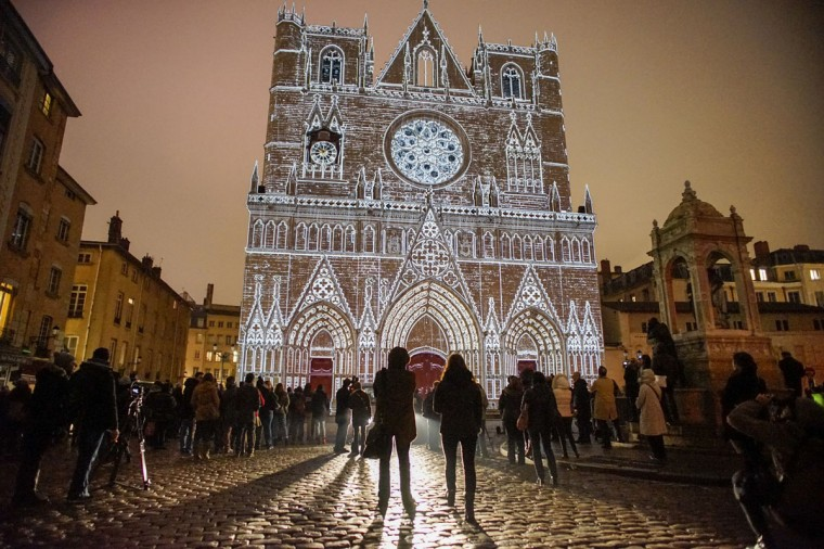 View of Color or Not installation by artist Yves Moreaux at the Saint-Jean Cathedral during the rehearsal for the Festival of Lights in central Lyon late in the night December 4, 2014. (REUTERS/Robert Pratta)