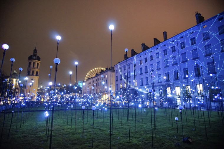 View of Laniakea installation by artists Jerome Donna and Simon Milleret-Godet during the rehearsal for the Festival of Lights in central Lyon late in the night December 4, 2014. (REUTERS/Robert Pratta)