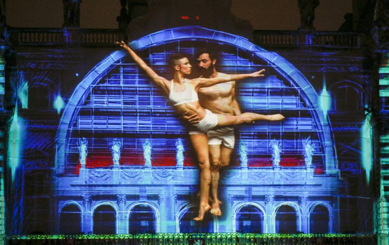 "View of ""Lyon, Terre aux lumieres"" installation by artists Gilbert Coudene and Etienne Guiol during the rehearsal for the Festival of Lights in central Lyon late in the night December 4, 2014. (REUTERS/Robert Pratta)"