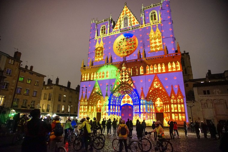 View of Color or Not installation by artist Yves Moreaux at the Saint-Jean Cathedral during the rehearsal for the Festival of Lights in central Lyon on December 4, 2014. (REUTERS/Robert Pratta)