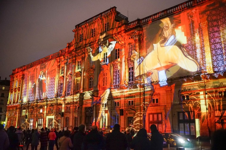 "View of ""Lyon, Terre aux lumieres"" installation by artists Gilbert Coudene and Etienne Guiol during the rehearsal for the Festival of Lights in central Lyon late in the night on December 4, 2014. (REUTERS/Robert Pratta)"