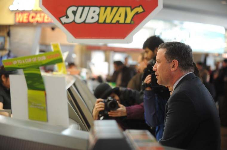 County executive Ken Ulman and stop for lunch at Subway in the food court at the Mall in Columbia on Monday, Jan 27. The mall reopened Monday following a shooting on Saturday. (Brian Krista/BSMG)