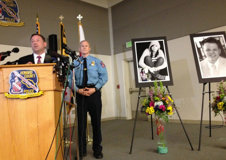 Howard Co. Exec. Ken Ulman (left) and Howard Co. Police Chief, William McMahon (right) Press conference related to the Columbia Mall shooting. (Amy Davis / Baltimore Sun)