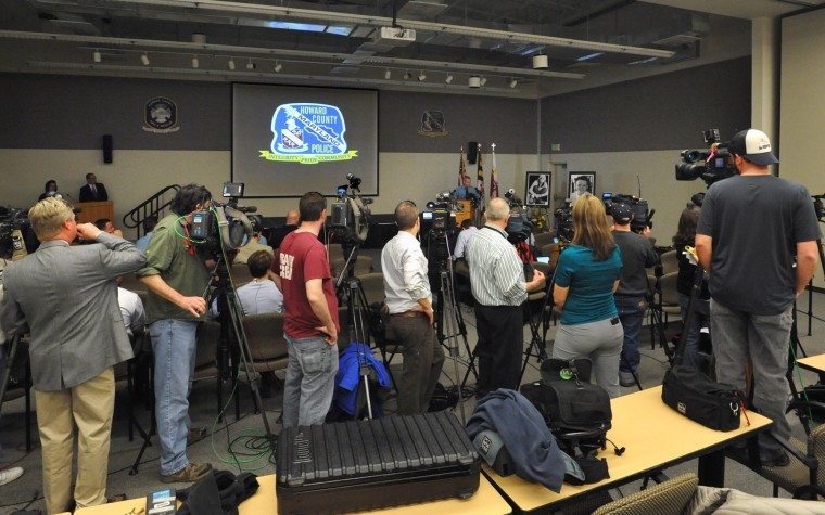 Media representatives from both the Baltimore and Washington D.C. areas record Howard County Police Chief William McMahon as he provides more information about the Columbia Mall shooting at a news conference held at the Howard County Public Safety Training Center. Howard County Police decided to release more details about their investigation into the January 25 shooting in an effort to bring closure to the community. The investigation is still continuing, but detectives do not expect significant new information to emerge. (Amy Davis/Baltimore Sun)
