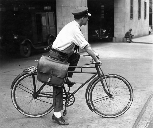 The last of the bicycle riders in the special delivery service , taken Nov. 11, 1939.