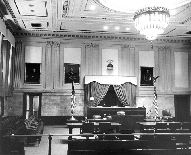 "A federal courtroom in the Post Office building was found ""worth preserving,"" as seen on Sept. 27, 1970."