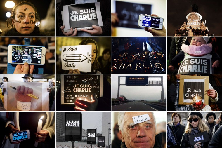 "A combination of pictures taken in January 2015 shows people from various countries showing ""Je Suis Charlie"" (I am Charlie) signs during demonstrations of solidarity around the world in support of the victims of the terrorist attack at the French magazine Charlie Hebdo on January 7, 2015. From left to right and top to bottom : Lisbon, Hong Kong, Tel Aviv, Paris, Madrid, Lisbon, Paris, Hong Kong, Athens, Strasbourg, Vesoul, Berlin, Mexico City, Paris, Belgrade and Geneva. AFP/Getty Images"