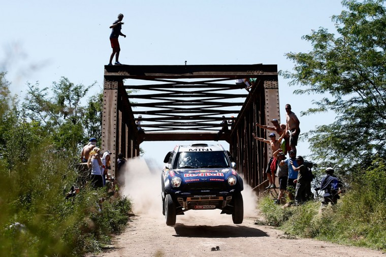 #301 Nasser Al Attiyah of Qatar and Mathieu Baumel of France for the ALL4 Racing Mini Qatar Rally Team compete during day 1 of the Dakar Rally on January 4, 2015 between Buenos Aires and Villa Carlos Paz, Argentina. (Photo by Dean Mouhtaropoulos/Getty Images)