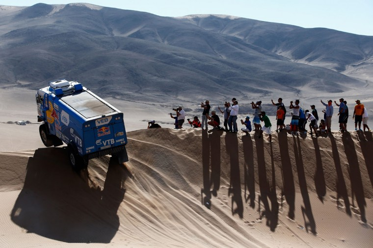 #500 Andrey Karginov, Andrey Mokeev and Igor Leonov of Russia for Team Kamaz Master compete during day 4 of the Dakar Rally on January 7, 2015 between Chilecito in Argentina to Copiapo, Chile. (Photo by Dean Mouhtaropoulos/Getty Images)