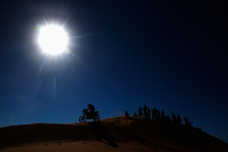 #23 Gerard Farres Guell of Spain for Gas Gas pont Grup Seguros Dakar team on the EC450 Rally GasGas competes during day 4 of the Dakar Rally on January 7, 2015 between Chilecito in Argentina to Copiapo, Chile. (Photo by Dean Mouhtaropoulos/Getty Images)