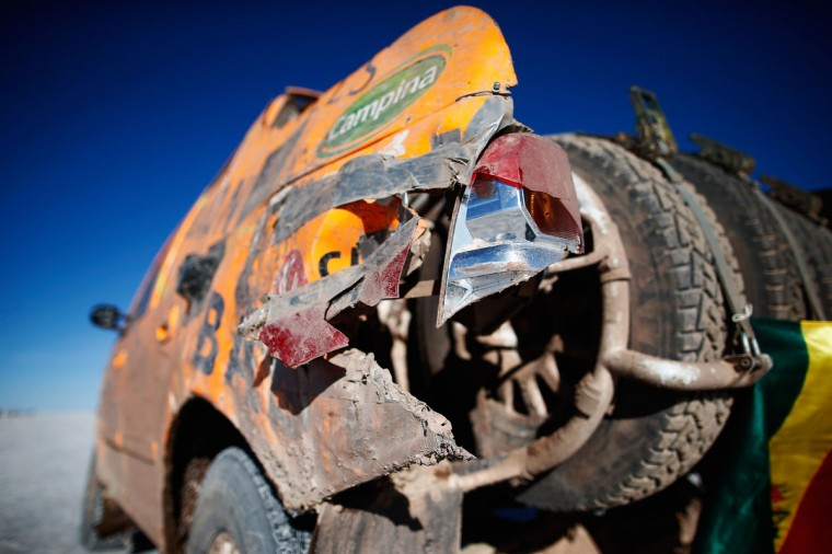 A detailed view of the broken rear tail light of #390 Anne Schol of the Netherlands and Werner Zoetaert of Belgium for Bastion Hotels Dakar Team Toyota as they wait on the start line during day 8 of the Dakar Rally on the Salar de Uyuni or Uyuni Salt Flats on January 11, 2015 in Uyuni, Bolivia. (Photo by Dean Mouhtaropoulos/Getty Images)