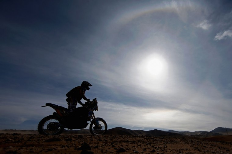 #153 Sergio Miguel Petrone of Argentina competes in the Atacama Desert during day 10 of the Dakar Rally between Iquique on Calama January 13, 2015 in Iquique, Chile. (Photo by Dean Mouhtaropoulos/Getty Images)