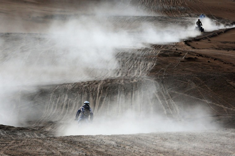 #135 Jeroen Van Daele of the Netherlands for HT Honda Rally Raid Honda CRF450 competes in the Atacama Desert during day 10 of the Dakar Rally between Iquique on Calama January 13, 2015 in Iquique, Chile. (Photo by Dean Mouhtaropoulos/Getty Images)