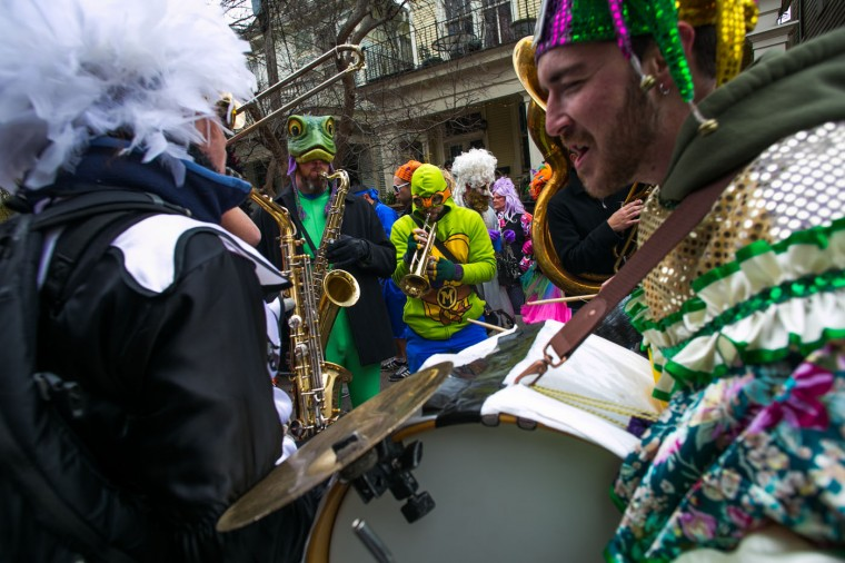 A band performs in the Faubourg Marigny neighborhood during Mardi Gras February 17, 2015 in New Orleans, Louisiana. Mardi Gras, or Fat Tuesday, is a celebration traditionally held before the observance of Ash Wednesday and the beginning of the Christian Lenten season. (Photo by Drew Anthony Smith/Getty Images)