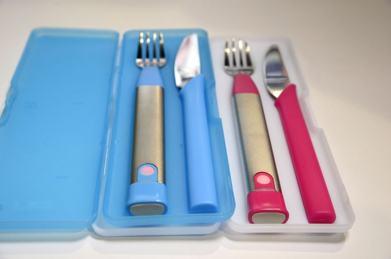The 10S Fork by Slow Control of France helps people improve their eating behavoir by teaching them to eat more slowly, January 7, 2015 at the Consumer Electronics Show in Las Vegas Nevada. A red alarm in the fork's handle lights up and the fork vibrates when the fork enters the mouth in shorter than ten second intervals, reminding the user to eat more slowly. The fork also collects and evaluates the eating speed data. (Robyn Beck/AFP/Getty Images)