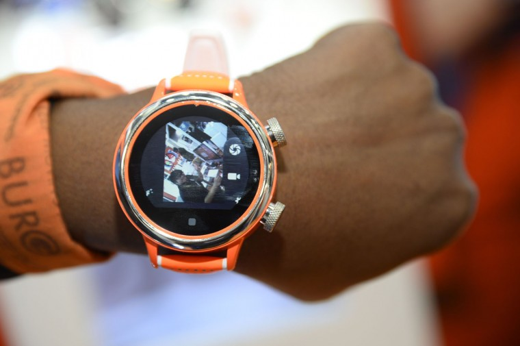 A Burg smartwatch displays video captured by its lens on the right side of the watch, at the Consumer Electronics Show in Las Vegas Nevada January 7, 2015. The 3G touchscreen Burg smart watch combines fashion with functionality, allowing users to make and receive calls without being linked to a smart phone, and features a built-in SIM-card slot, video camera, micro SD card slot, Bluetooth and GPS. (Robyn Beck/AFP/Getty Images)