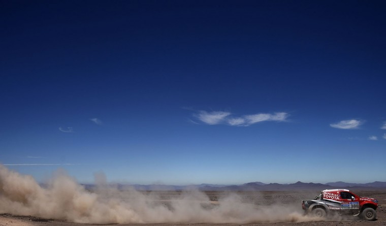 Toyota's driver Christian Lavieille of France and co-driver Pascal Maimon compete during the Stage 5 of the Dakar 2015 between Copiapo and Antofogasta, Chile, on January 8, 2015. (Franck Fife/AFP/Getty Images)