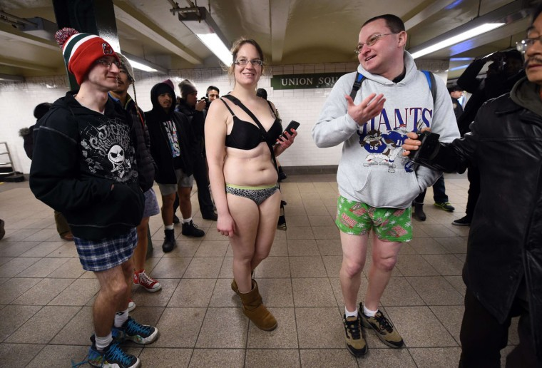 Some participants in the No Pants Subway Ride wait for a train in their underwear in New York subway on January 11, 2015 in New York. The No Pants Subway Ride is an annual which was started in 2002 by Improv Everywhere in New York, the goal is for riders to get on the subway train dressed in normal winter clothes without pants and keep a straight face. (Timothy A. Clary/AFP/Getty Images)