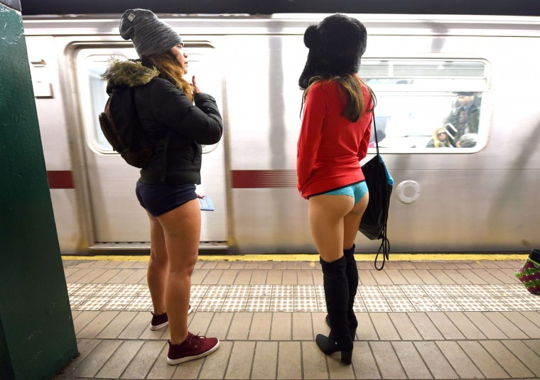 Some participants in the No Pants Subway Ride wait for a train in their underwear in New York subway on January 11, 2015 in New York. The No Pants Subway Ride is an annual which was started in 2002 by Improv Everywhere in New York, the goal is for riders to get on the subway train dressed in normal winter clothes without pants and keep a straight face. (Timothy Clary/AFP/Getty Images)