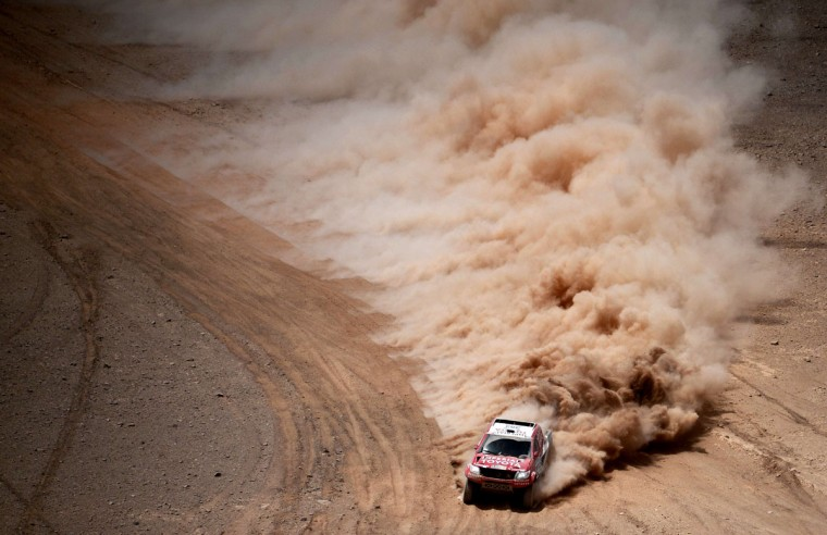 Toyota's driver Giniel De Villiers of South Africa and co-driver Dirk Von Zitzewitz of Germany compete during the Stage 9 of the Dakar 2015 between Iquique and Calama, Chile, on January 13, 2015. (Frank Fife/AFP/Getty Images)