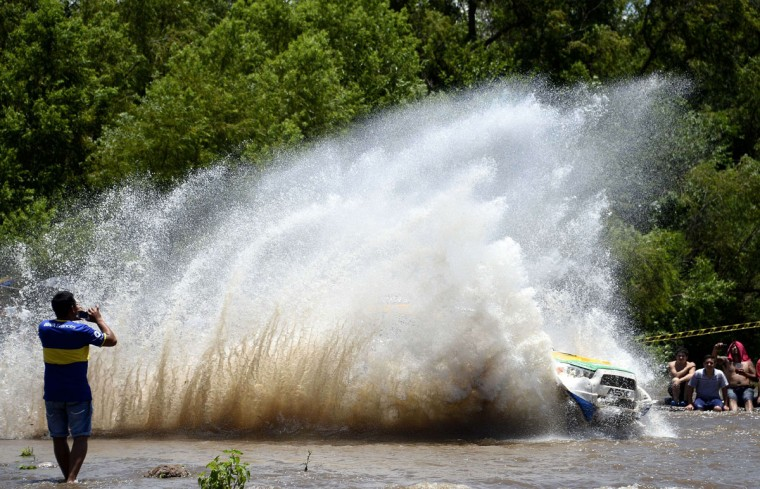 Mitsubishi's Portuguese driver Carlos Sousa and co-driver Paulo Fiuza compete during the Stage 11 of the Dakar 2015 between Salta and Termas de Rio Hondo, Argentina, on January 15, 2015. (Frank Fife/AFP/Getty Images)