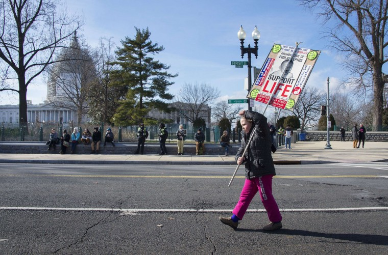 A young girl and pro-life activists marches with a placards and chant in front of the US Supreme Court in Washington, DC, January 22, 2015, as she awaits the arrival of other pro-choice activist with the March For Life. (JIM WATSON/AFP/Getty Images)