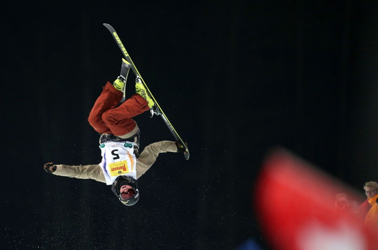 Kyle Smaine from US competes during the Men's Ski Halfpipe Finals of FIS Freestyle and Snowboarding World Ski Championships 2015 in Kreischberg, Austria on January 22, 2015. (AFP Photo/Lisi Niesner)