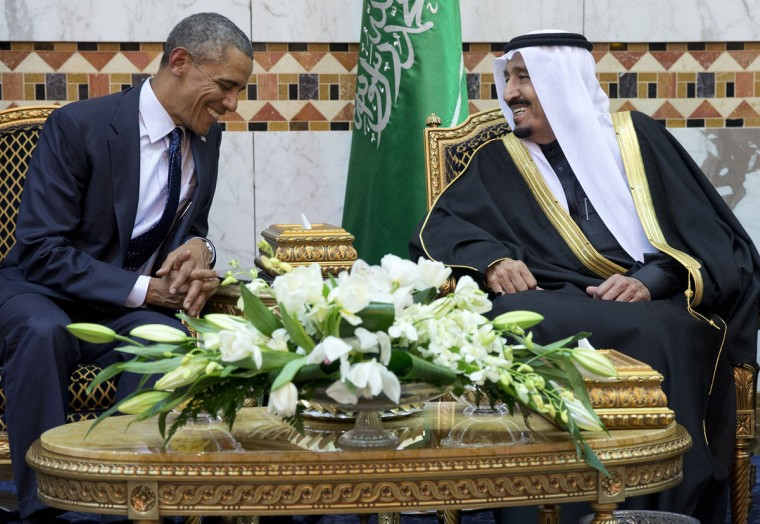 President Barack Obama meets new Saudi Arabian King Salman bin Abdul Aziz in Riyadh, Saudi Arabia, Tuesday, Jan. 27, 2015. The president and first lady have come to expresses their condolences on the death of the late Saudi Arabian King Abdullah bin Abdulaziz al-Saud. (AP Photo/Carolyn Kaster)