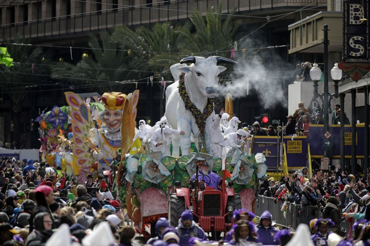 The Krewe of Rex parade rolls through downtown New Orleans on Mardi Gras day in New Orleans, Tuesday, Feb. 17, 2015. (AP Photo/Gerald Herbert)