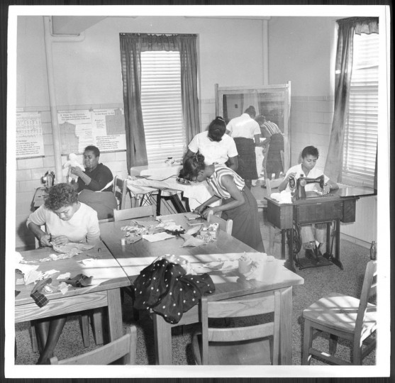 Patients learn sewing 1959.