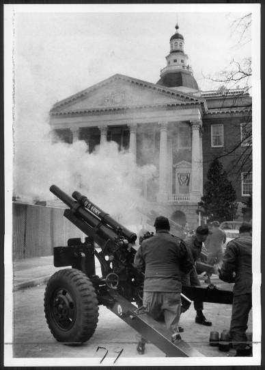 An 18-gun salute during Marvin Mandel's 1975 inauguration. (Baltimore Sun file photo)