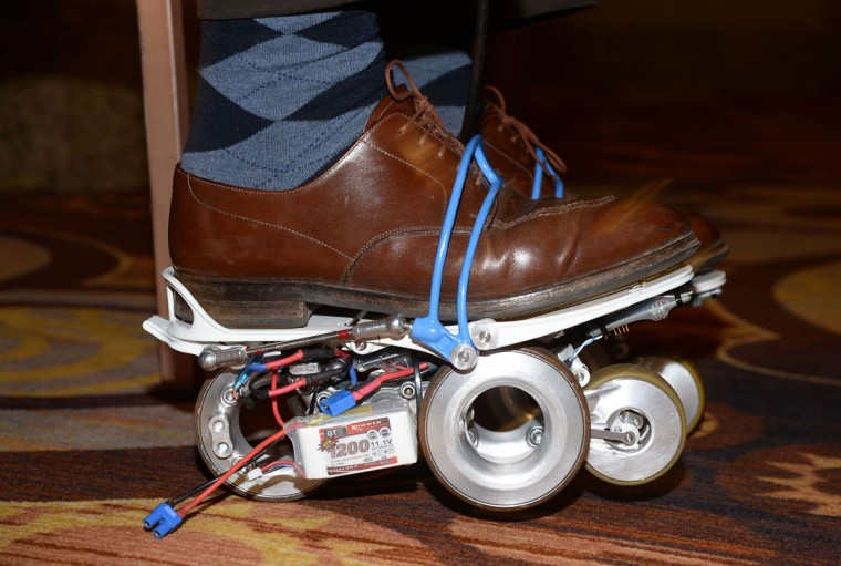 The Rollkers, a transportation accessory that increases a person's average walking rate up to 7 miles per hour, is seen on January 4, 2014 before the start of the 2015 Consumer Electronics Show in Las Vegas. (ROBYN BECK/AFP/Getty Images)