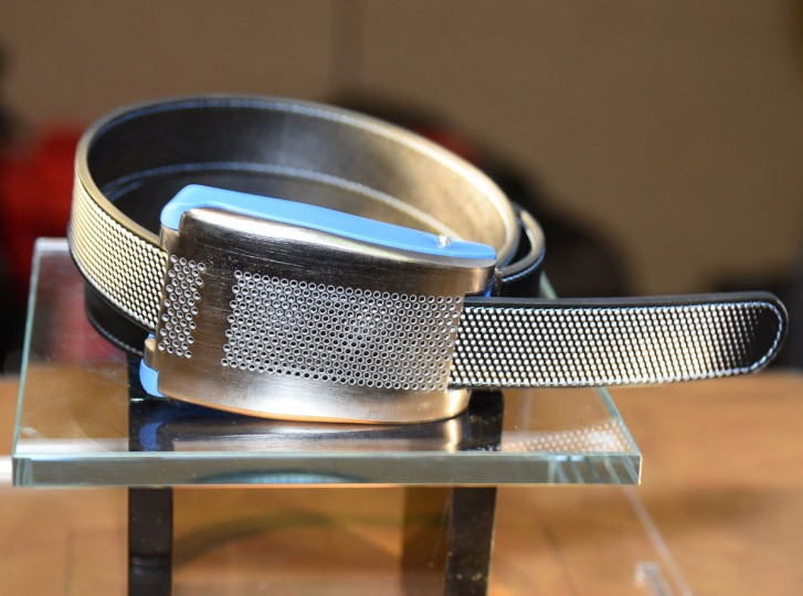 Belty, a smart belt from Paris-based Emiota, is displayed at CES Unveiled, the opening event for the media preview days at the 2015 Consumer Electronics Show. Belty, the world's first connected belt, monitors the waistline measurements and advises when it is time to lose weight. Belty will also automatically loosen when the wearer sits and tighten when the wearer stands. Belty is made entirely in France - a wearable tech item that is also a fashion statement. The product is still under development but Emiota co-founder expects to have Belty on the market by Q4 at a price yet to be determined. (ROBYN BECK/AFP/Getty Images)