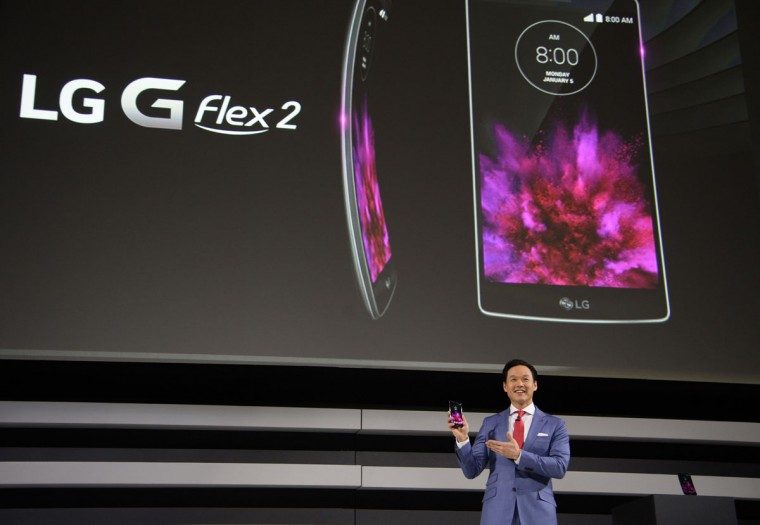 Frank Lee, head of Brand Marketing for LG Electronic MobileComm USA, introduces the new LG G Flex2 smart phone, at the LG press conference at 2015 Consumer Electronics Show in Las Vegas. (ROBYN BECK/AFP/Getty Images)