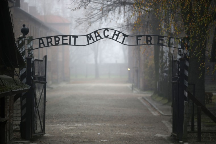 The infamous German inscription that reads 'Work Makes Free' at the main gate of the Auschwitz I extermination camp on November 15, 2014 in Oswiecim, Poland. (Photo by Christopher Furlong/Getty Images)