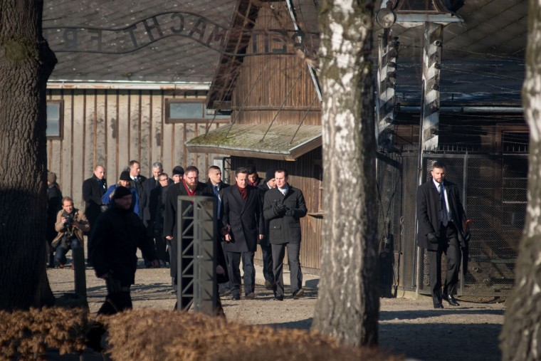 British Prime Minister David Cameron visits the memorial site at the former Auschwitz - Birkenau Nazi death camp in Oswiecim, Poland, on December 10, 2014. (BARTOSZ SIEDLIK/AFP/Getty Images)