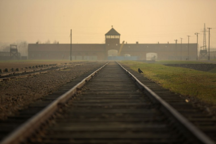 The railway track leading to the infamous 'Death Gate' at the Auschwitz II Birkenau extermination camp on November 13, 2014 in Oswiecim, Poland. (Photo by Christopher Furlong/Getty Images)