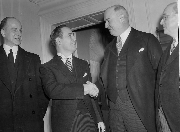 Herbert R. O'Conor's 1939 inauguration. Pictured with Sumner Wells, Post Master General James Farley and Mayor Howard Jackson. (Baltimore Sun file photo)