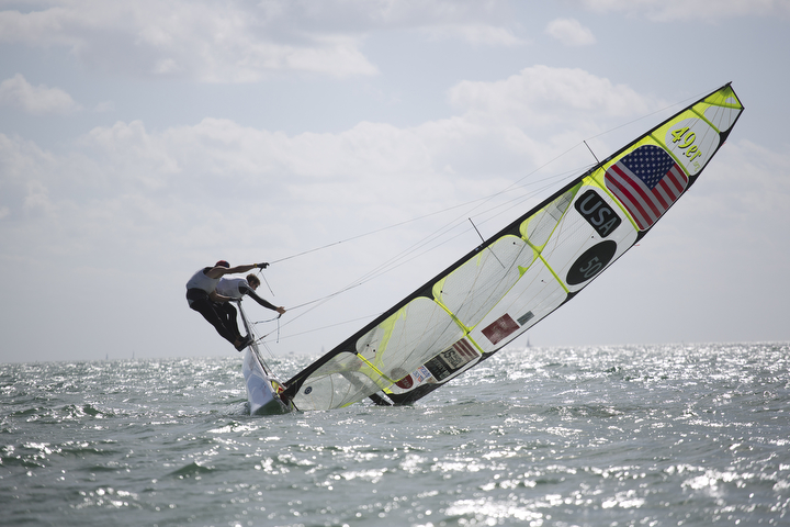 United States teammates Brad Funk and Trevor Burd try to keep their 49ers class boat upright during the ISAF Sailing World Cup on Biscayne Bay in Miami. (J Pat Carter/AP Photo)