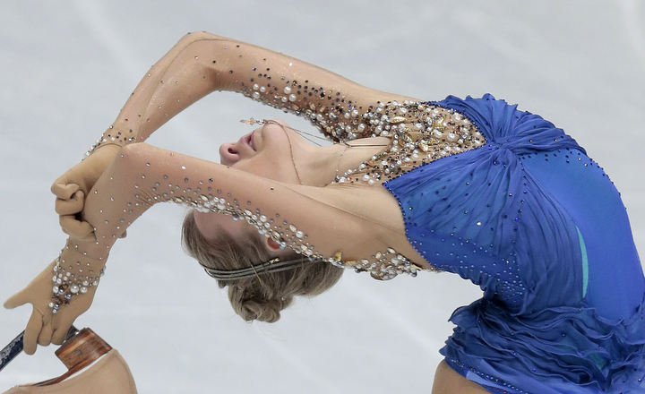 Elena Radionova, of Russia, skates during her free program at the European Figure Skating championships in Stockholm, Sweden. (Ivan Sekretarev/AP Photo)