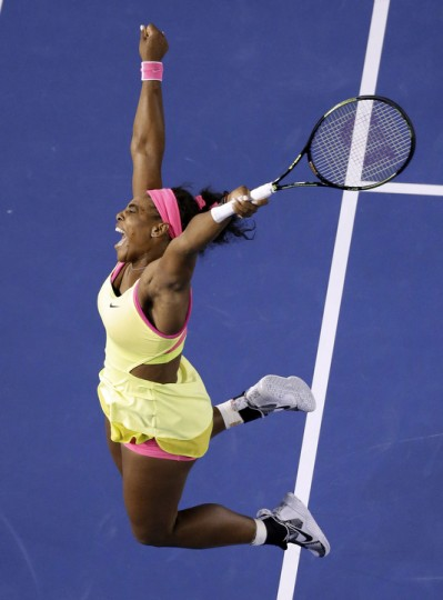 Serena Williams of the U.S. celebrates after defeating Maria Sharapova of Russia in their women's singles final at the Australian Open tennis championship in Melbourne, Australia. (Lee Jin-man/AP Photo)