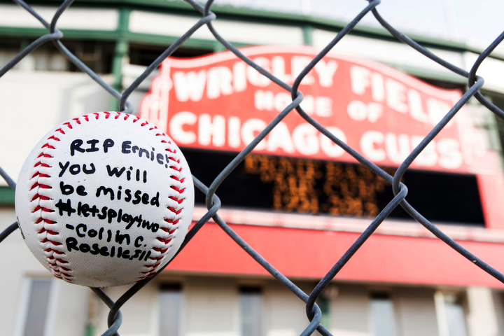 A tribute for beloved Cubs shortstop Ernie Banks in front of Wrigley Field, Chicago. Banks died Jan. 23 of a heart attack in Chicago. He was 83 years old. (James Foster/AP Photo/Sun-Times Media)