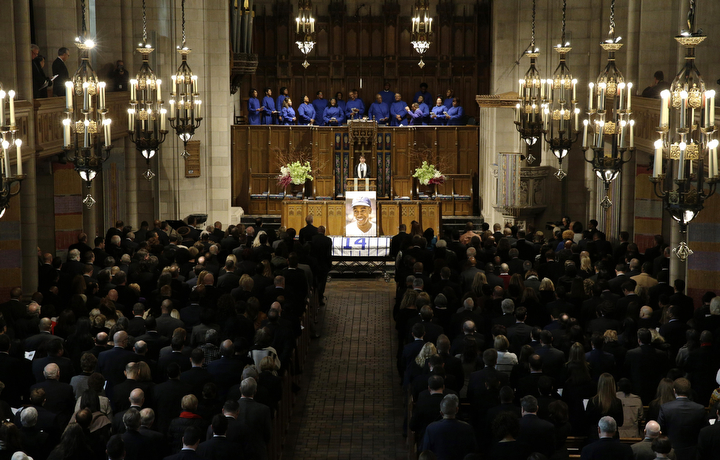 "The Chicago Cubs hold an official memorial service for Hall of Fame slugger Ernie Banks at Chicago's Fourth Presbyterian Church. Banks died Friday at 83 after a heart attack, according to an attorney representing his family. Known as ""Mr. Cub,"" Banks is remembered as much for his boundless enthusiasm despite playing on mostly losing teams as his 512 home runs and two MVP awards. (Nam Y. Huh/AP Photo)"