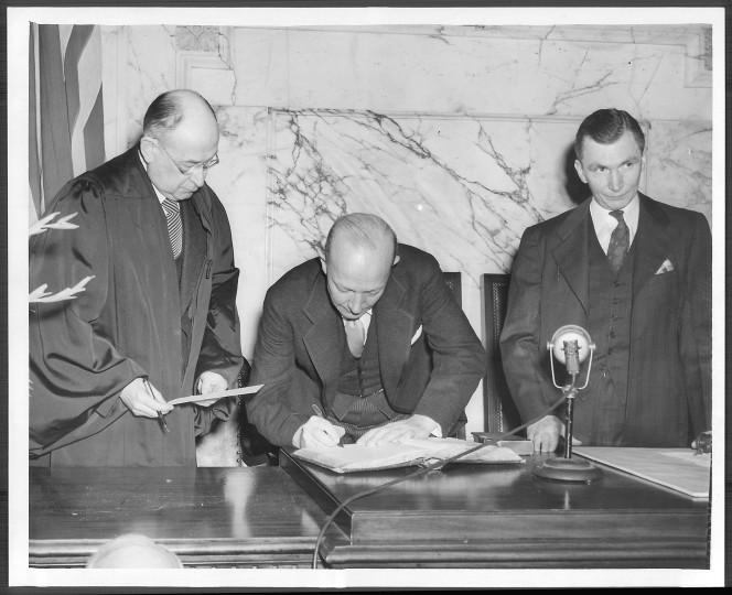 William Preston Lane, Jr.'s 1947 inauguration. (Baltimore Sun file photo)