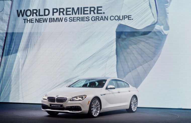 The new BMW 6 Series Gran Coupe sedan is unveiled at the North American International Auto Show, Monday, Jan. 12, 2015, in Detroit. (AP Photo/Tony Ding)