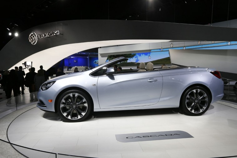 The Buick Cascada convertible is on display during media previews for the North American International Auto Show in Detroit Monday, Jan. 12, 2015. (AP Photo/Paul Sancya)