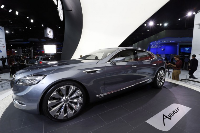 The Buick Avenir concept is on display during media previews for the North American International Auto Show in Detroit Monday, Jan. 12, 2015. (AP Photo/Paul Sancya)