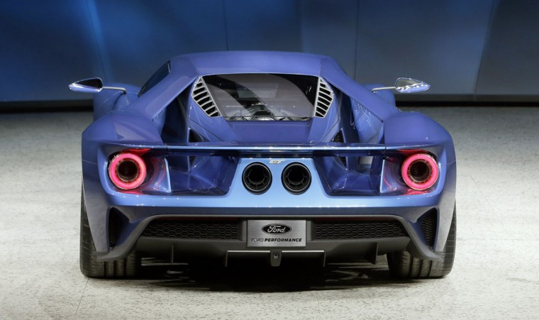 The new Ford GT is unveiled at the North American International Auto Show, Monday, Jan. 12, 2015 in Detroit. (AP Photo/Carlos Osorio)