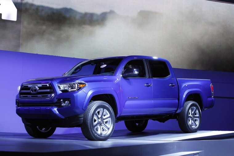 Toyota reveals the new Tacoma midsize pickup truck to the media at the 2015 North American International Auto Show (NAIAS) on January 12, 2015 in Detroit. (Photo by Bill Pugliano/Getty Images)
