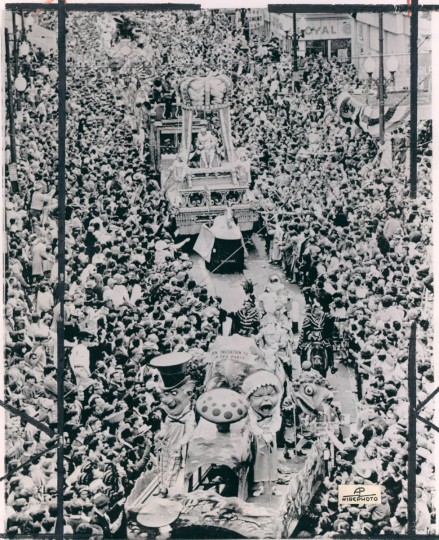 An estimated million people lined the streets of New Orlenas on February 22, 1966 to greet Rex, King of Carnival, during Mardi Gras festivities. This is how the Rex procession looked winding down St. Charles Street. (AP Wirephoto)